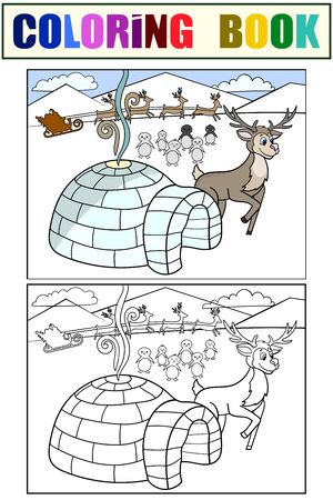 Sapmi, traditional habitats of Santa Claus. Set children coloring book and color picture. Stock Illustratie