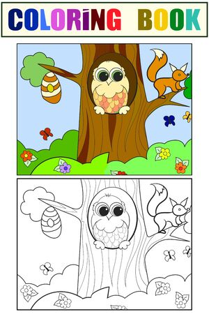 Beehive, eagle owl and squirrel on a tree. Set children coloring book and color picture.