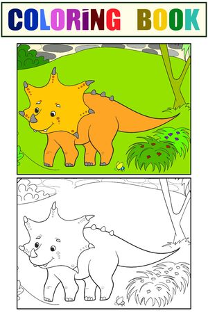 Triceratops dinosaur in nature. Children coloring book set color and black and white. Vector  イラスト・ベクター素材