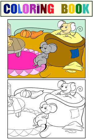 Set, children coloring book and color picture. The mice have eaten and are resting in a closet. Illustration