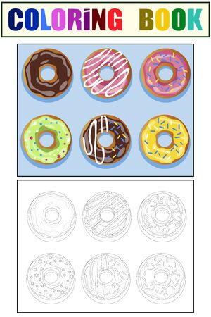 Set of 6 donuts. Color and coloring book. Cartoon raster