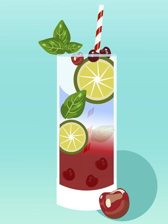 Summer alcoholic drink cold with berries. Realistic drawing. Raster Reklamní fotografie