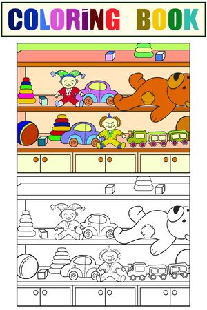 Wardrobe with children toys. Set of coloring book and color sketch for example. Vector illustration.