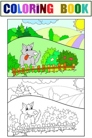 A funny wolf looks out over the fence. Set of coloring book and color sketch for example.