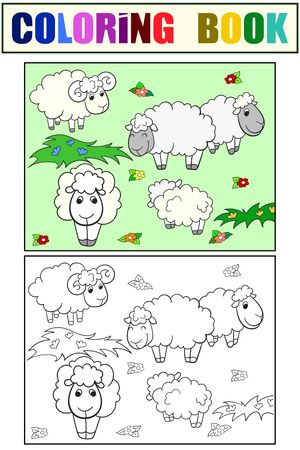 Flock of sheep. Set of children art coloring book and drawing. Vector illustration.