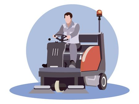 Man works for street sweeper. Flat style. Cartoon raster illustration