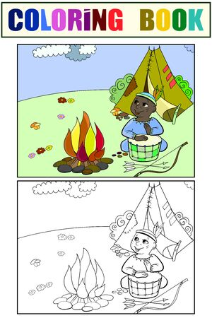 Children drawing, coloring and color. Theater scene, boy plays the role of Indian near fire and wigwam. Cartoon raster 스톡 콘텐츠