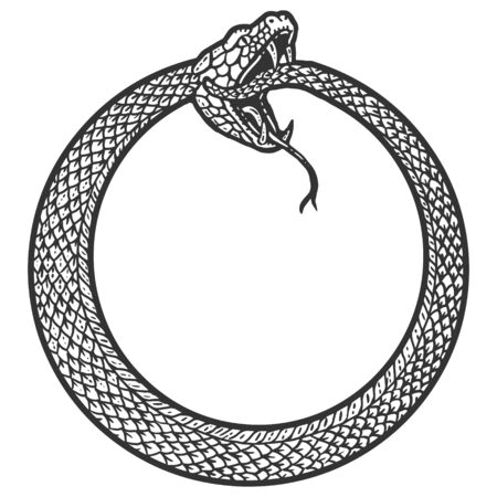 Uroboros, snake coiled in a ring, biting its tail. Scratch board imitation. Black and white hand drawn image.