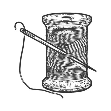 Spool of thread with a needle. Scratch board imitation. Black and white hand drawn image. Engraving vector illustration
