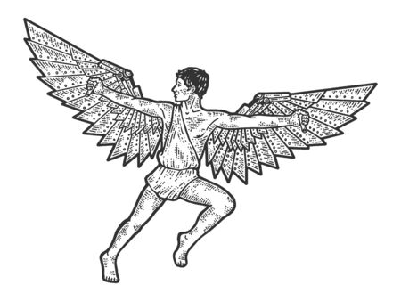 Icarus, a guy with steel wings. Apparel print design. Scratch board imitation. Black and white hand drawn image.