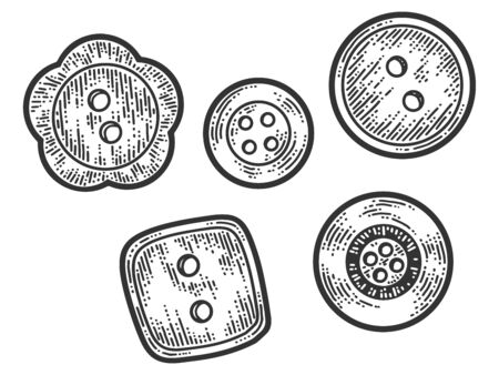 Set of five buttons. Apparel print design. Scratch board imitation. Black and white hand drawn image. Engraving raster illustration