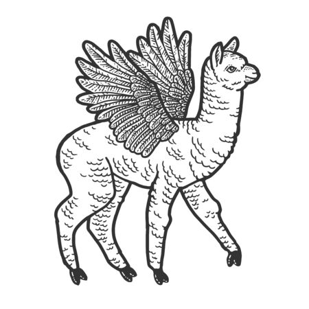 Cute llama with wings. Scratch board imitation. Black and white hand drawn image. Engraving raster illustration Фото со стока