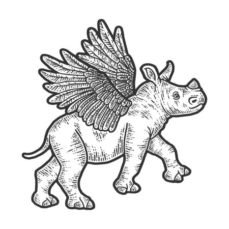 Little rhino with wings. Apparel print design. Scratch board imitation. Black and white hand drawn image. Engraving vector illustration Ilustração