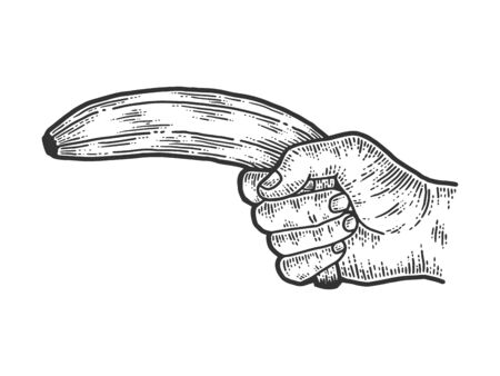 Male hand shoots a banana. Sketch scratch board imitation.