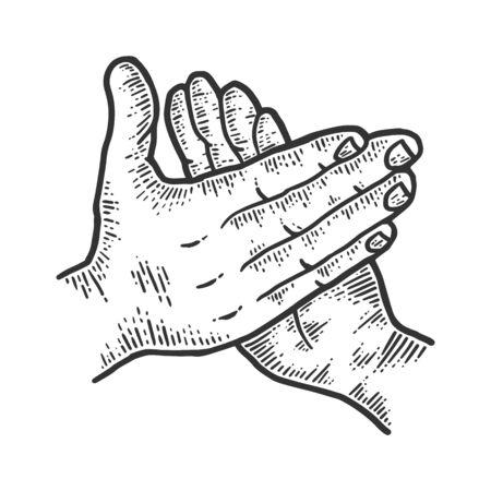Applause, male palms. Sketch scratch board imitation. Vektorové ilustrace