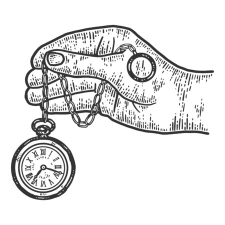 Male hand holds pocket watch. Sketch scratch board imitation. Black and white. Engraving vector illustration