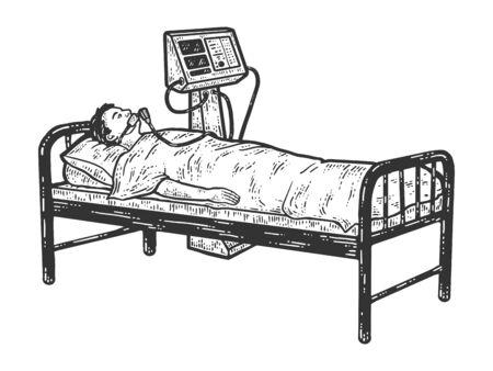 Coronavirus patient connected to ventilator. Sketch scratch board imitation.