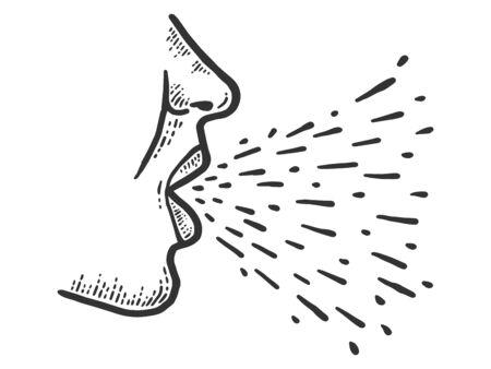 Transmission, respiratory droplet generates during cough and sneezes. Ilustração