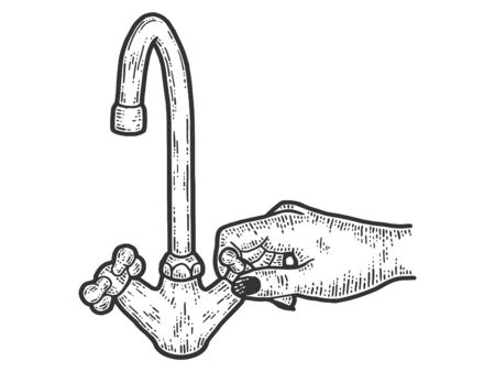 Female hand tightens the screw of a water tap. Sketch scratch board imitation. Black and white. Engraving vector illustration.  イラスト・ベクター素材