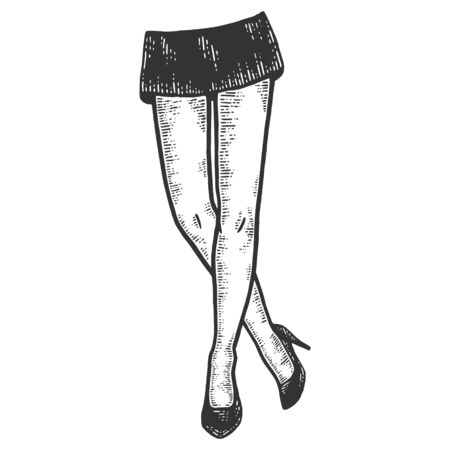 Female legs in a short skirt and shoes. Sketch scratch board imitation.