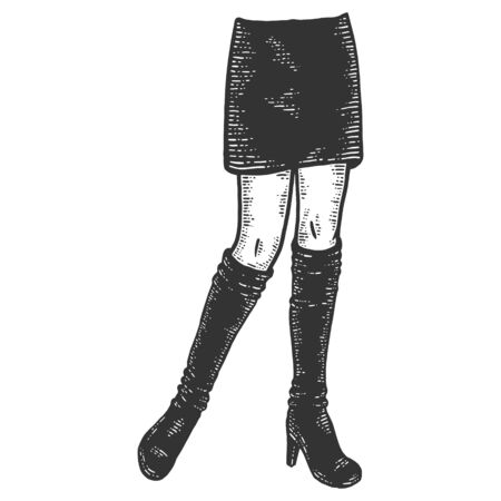 Beautiful female legs in boots and a business skirt. Sketch scratch board imitation. Ilustracja