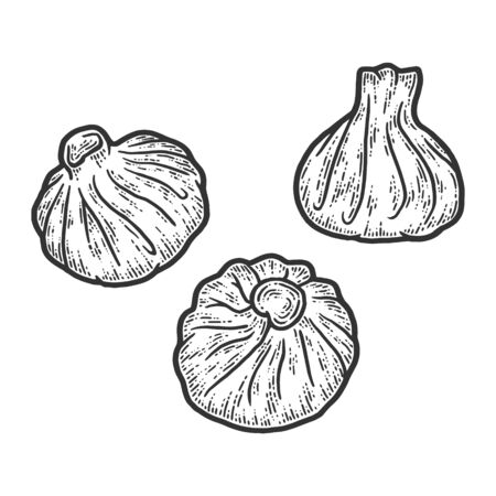 Georgian dish, three khinkali. Sketch scratch board imitation. Black and white. Engraving vector illustration. Ilustracja