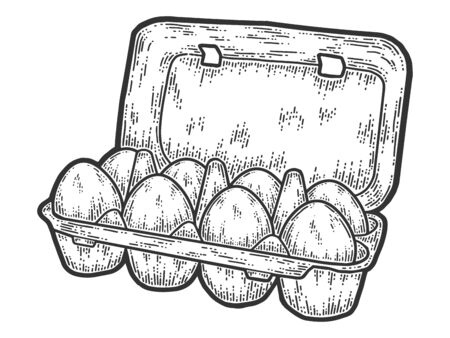 Packing eight eggs. Sketch scratch board imitation. Black and white. Çizim