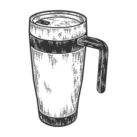 Vacuum flask cup with handle. Sketch scratch board imitation.