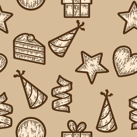 Seamless pattern beige color. Holiday objects, signs and symbols. Sketch scratch board imitation.