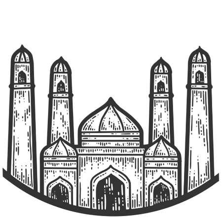 Taj Mahal. Symbols of Turkey. Sketch scratch board imitation. Black and white. Engraving vector illustration.