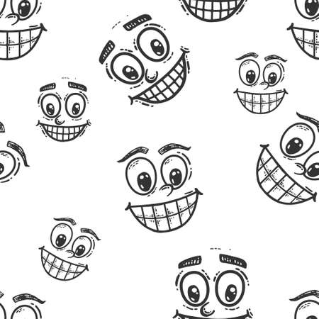 Seamless picture, set faces with a smile. Sketch scratch board imitation. Black and white. Engraving vector illustration. Illustration