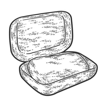 Soap dish with soap. Sketch scratch board imitation. Black and white.