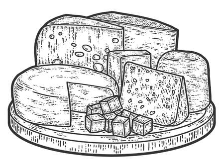 On desk cheese products still life. Old engraving imitation. Sketch scratch board imitation.