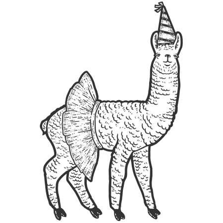 Animal llama, in a skirt and a birthday cap. Sketch scratch board imitation.