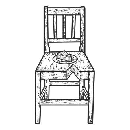 Wooden chair like cake. Sketch scratch board imitation. Black and white.