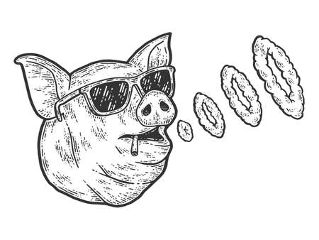 The pig smokes and blows smoke rings. Sketch scratch board imitation.