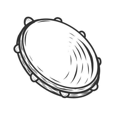 Tambourine, musical instrument. Sketch scratch board imitation.