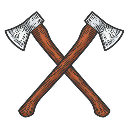 Crossed axes engraving. Apparel print design. Scratch board imitation. Color hand drawn image. 矢量图像
