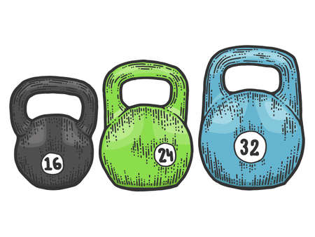 Set of weights for a sports club. Scratch board imitation. Color hand drawn image.