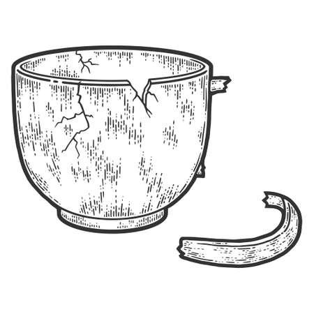 Crockery, broken cup. Sketch scratch board imitation. Black and white. 矢量图像