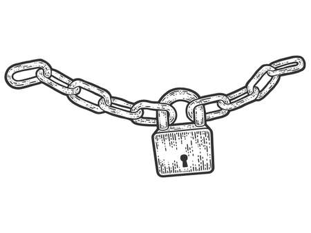 Padlock connected the chain. Sketch scratch board imitation.