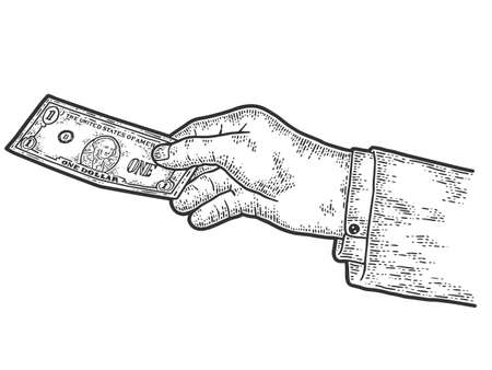 The hand transfers one dollar. Sketch scratch board imitation. Black and white.