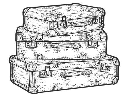 Retro travel suitcases stacked on top of each other. Sketch scratch board imitation.