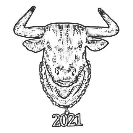 New year, bull head with chain 2021. Sketch scratch board imitation.