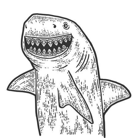 Children dentistry, shark with dental braces. Sketch scratch board imitation.