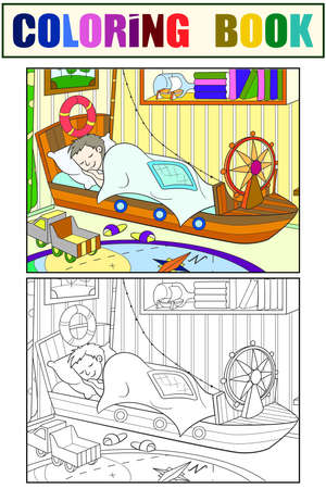 Kids coloring on the theme of childhood room illustration. Black, white and color 免版税图像