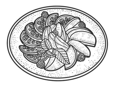 Fruit plate. Sketch scratch board imitation. Black and white. 矢量图像