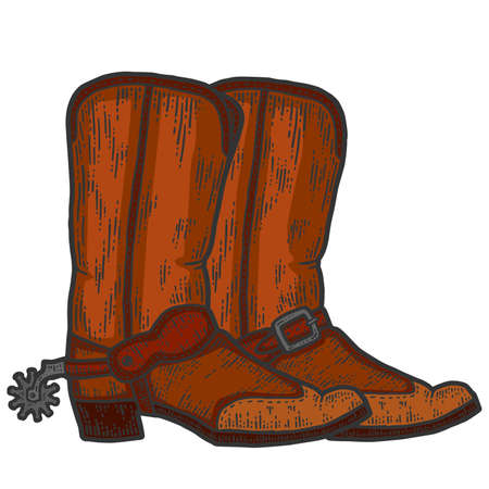 A pair of cowboy boots, sketch. Scratch board imitation. Color hand drawn image.