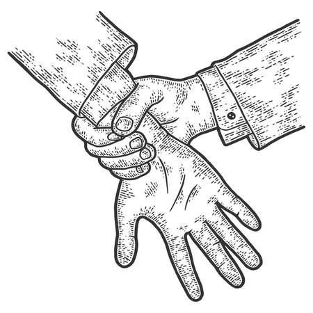 Hands, catch a thief, court. Sketch scratch board imitation. 免版税图像