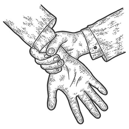Hands, catch a thief, court. Sketch scratch board imitation. 矢量图像
